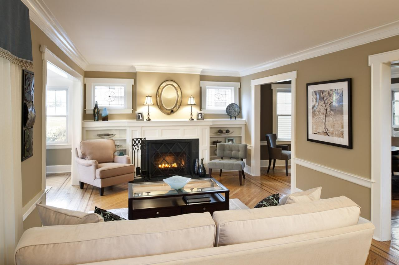 Beige interior in a spacious and comfortable living room