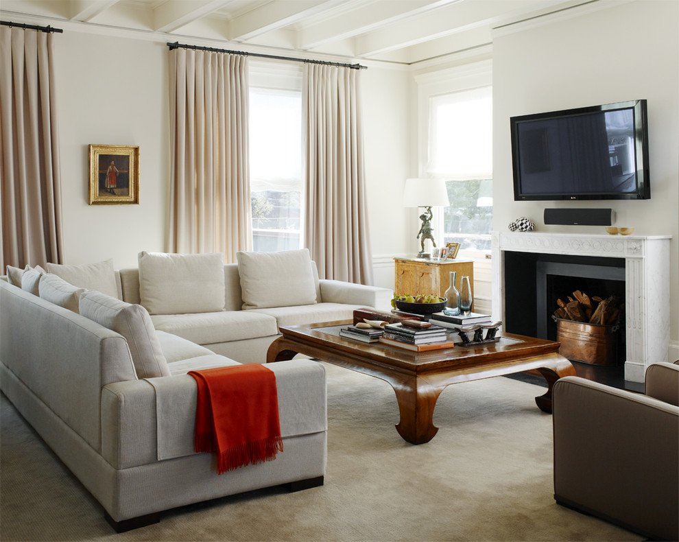Beige living room as a backdrop for a strikingly colorful element