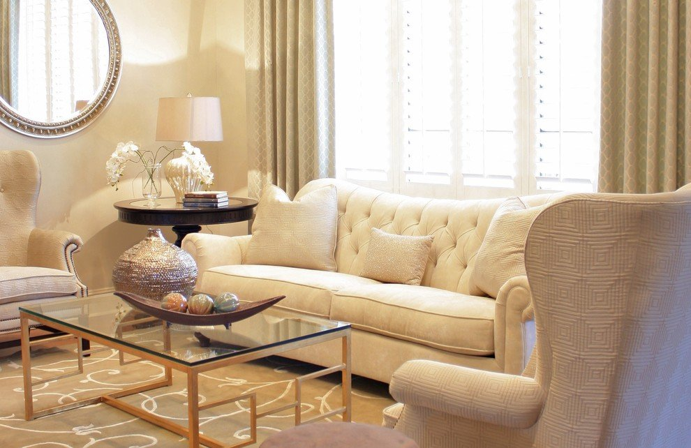 Beige living room with a light and quiet atmosphere