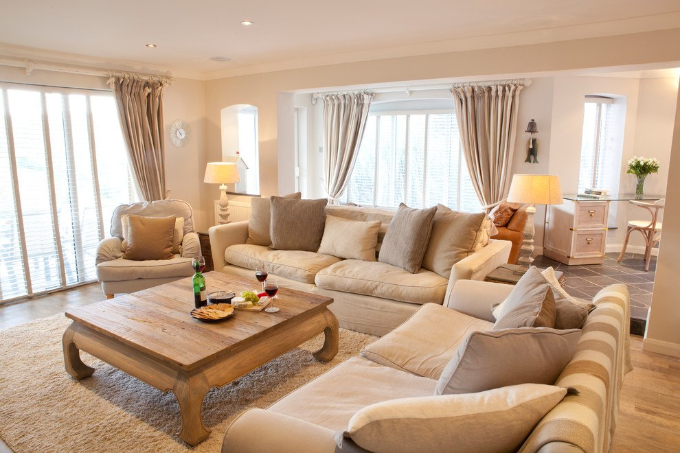 Beige living room with a pure and authentic style