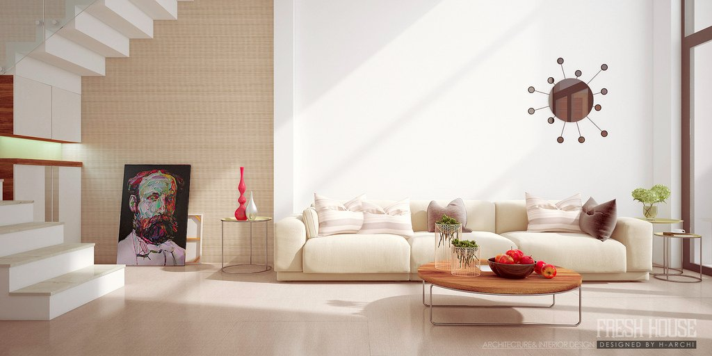 Ceam furniture paired with a bright white wall