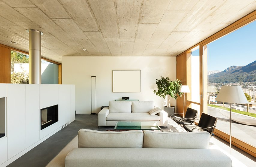 Cheerful and optimistic beige living room