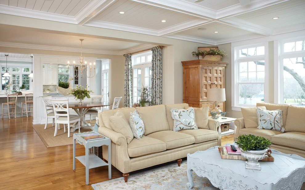 Clean style of a beige living room with white pieces