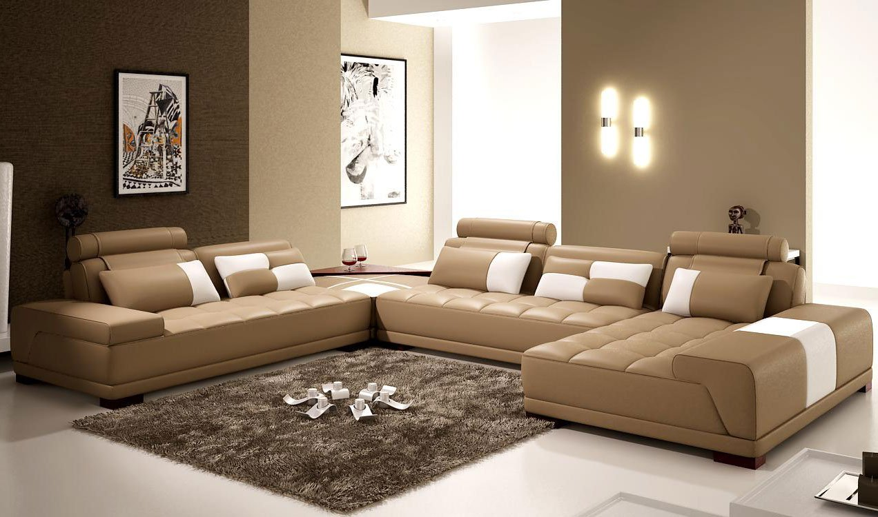 Lavish beige living room with a big factor of comfort and luxury