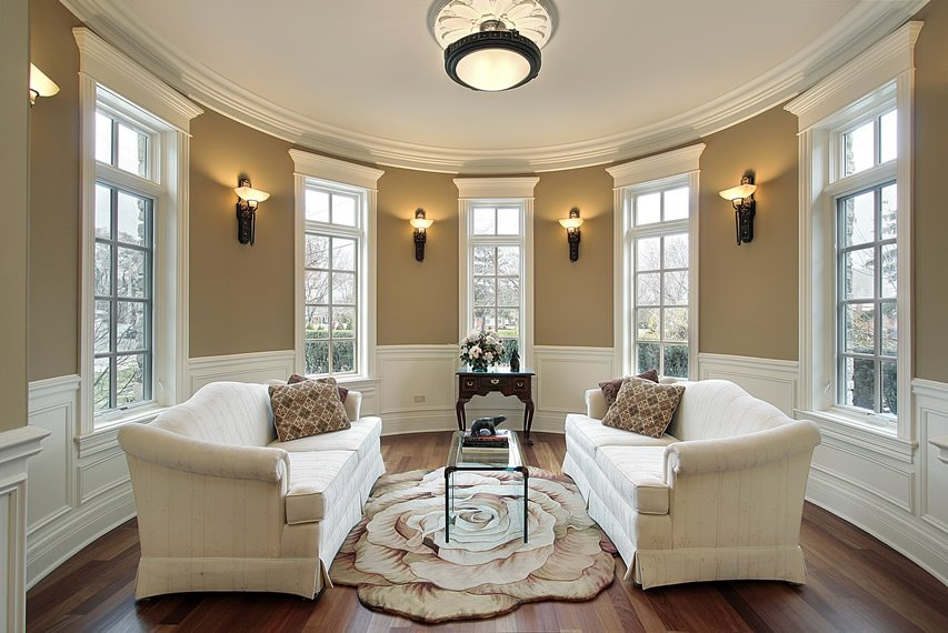 Light beige sofas as the focal point of the room