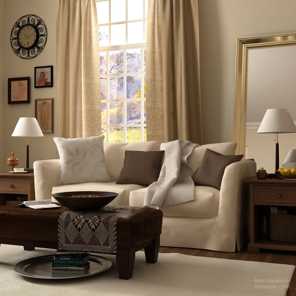 Living room layered in differend shades of beige