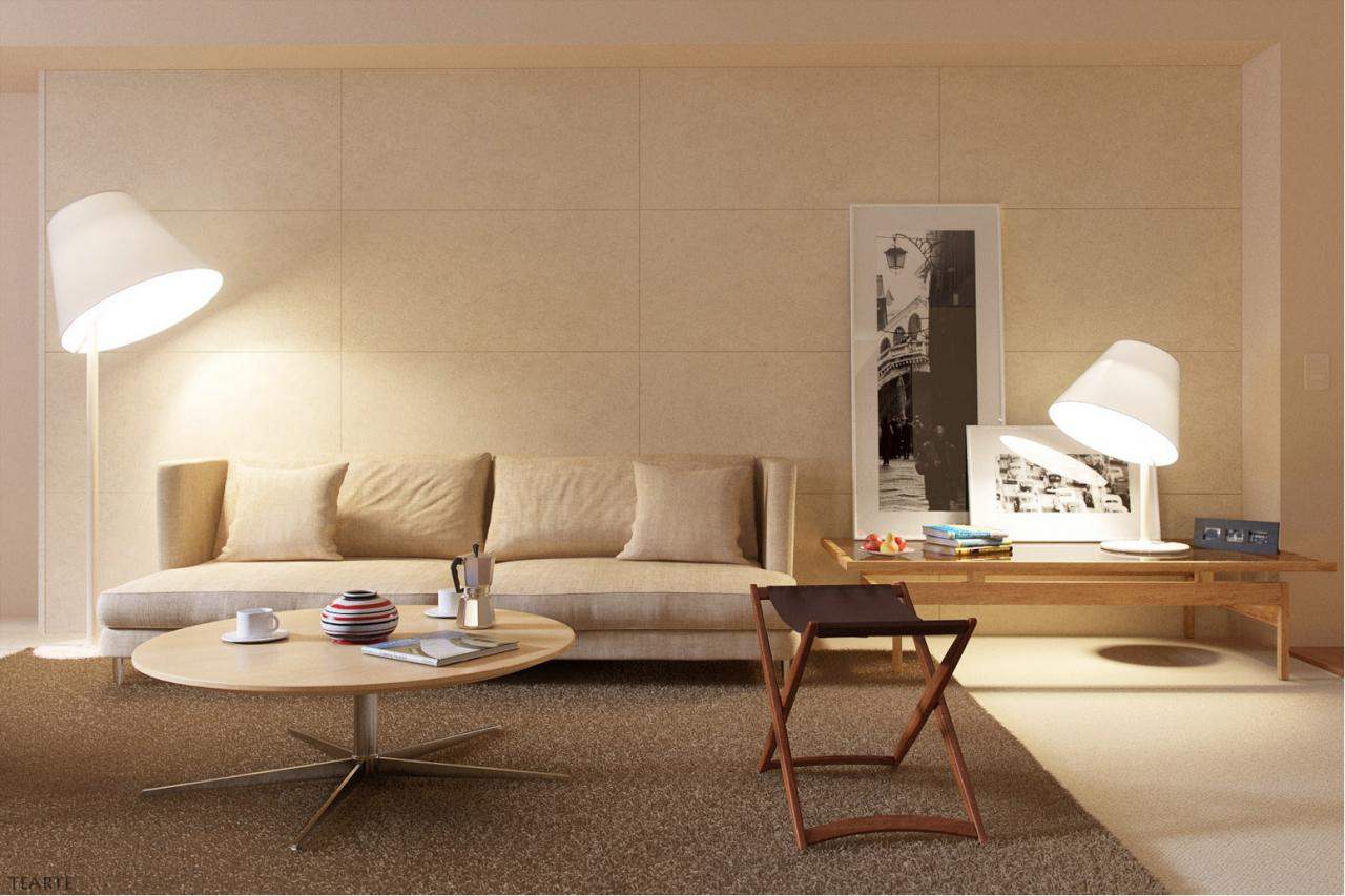 Living room layered with beige hues