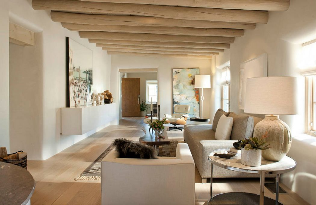 Living room that pairs beige with countryside decor
