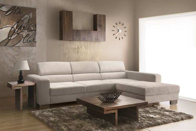 Wooden elements add comfort and security to neutral living room